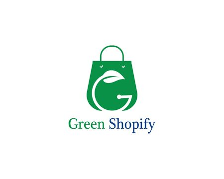 Green bag online shop logo template vector Illustration