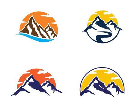 Mountain icon logo business template vector