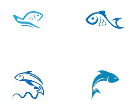 Fish logo template. Creative vector symbol of fishing Illustration
