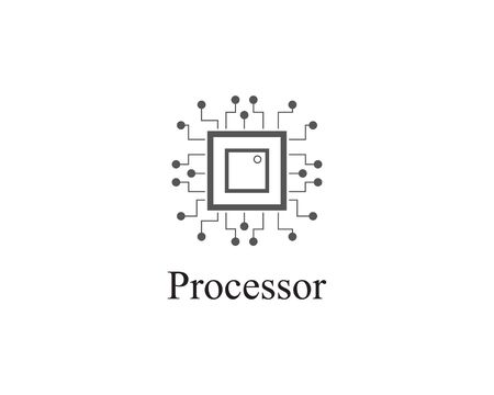 abstract Processor Logo technology template design Illustration