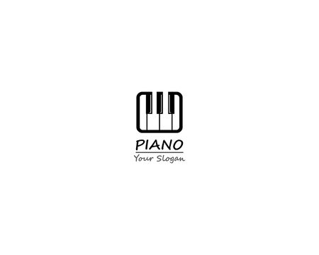 Piano grill keyboard icon template illustration design