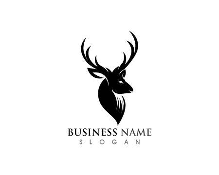 Deer head icon silhouette logo design minimalist template Иллюстрация
