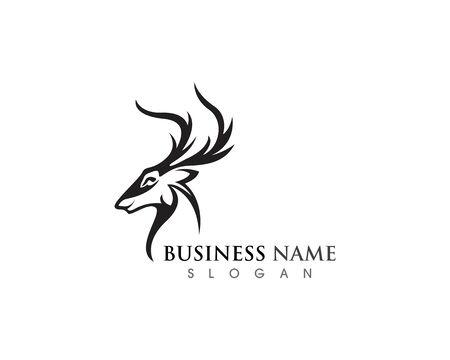 Deer head icon silhouette logo design minimalist template 向量圖像