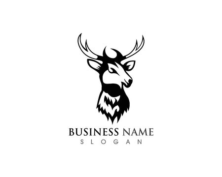 Deer head icon silhouette logo design minimalist template Иллюстрация