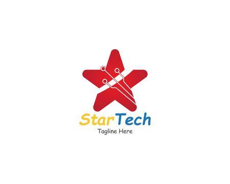 Star logo with Circuit tech creative simple concept design