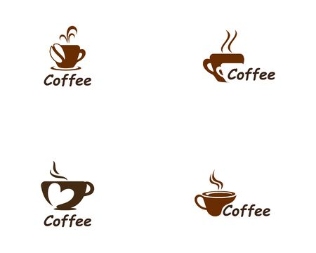Coffee Cup drink set logo and vector icon design illustration Logo