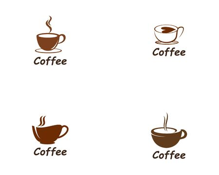 Coffee Cup drink set  logo and vector icon design illustration Stock Illustratie