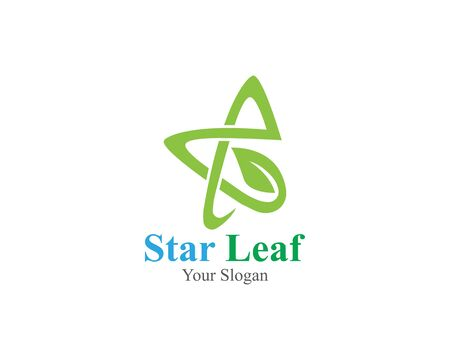 Star with leaf concept innovation logo template vector Stock Illustratie