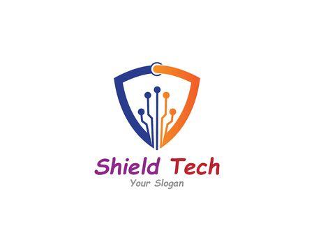 Shield with circuit tech creative logo or icon template design