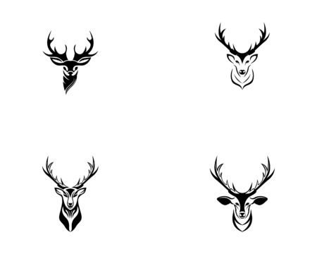 Deer head set icon silhouette logo design minimalist template
