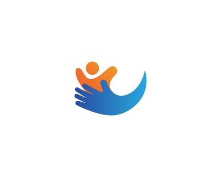 Adoption and community care, logo simple concept people heart icon