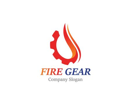 Gear with fire logo template design, emblem, concept design creative icon  イラスト・ベクター素材
