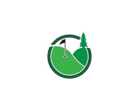 Golf Field icon logo template design Illusztráció