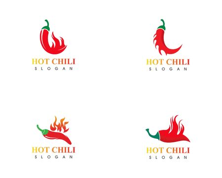 Red hot set natural of chili icon Template vector Illustration