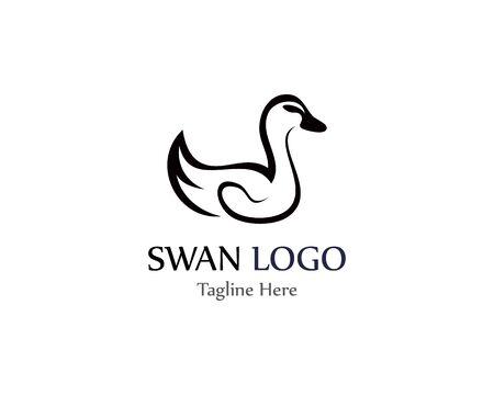 Łabędź logo prosta ikona szablon wektor ilustracja kreatywny projekt Logo