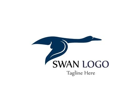 Swan logo simple icon template vector illustration creative design