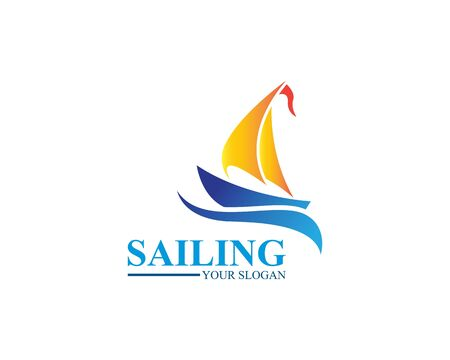 Sailing ship logo template vector icon illustration design