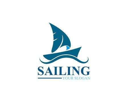 Sailing ship logo template vector icon illustration design