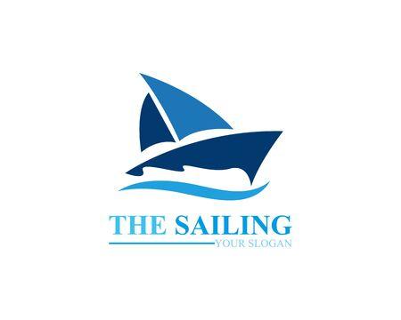 Sailing boat ocean wave logo template vector Illustration