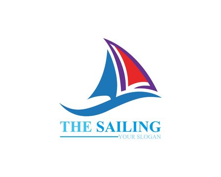 Sailing boat ocean wave logo template vector Иллюстрация
