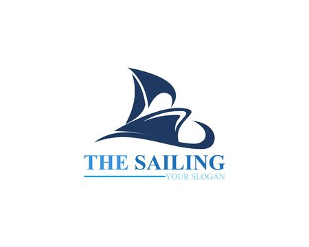 Sailing ship boat vector logo icon template design