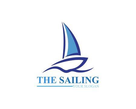 Sailing ship boat vector logo icon template design