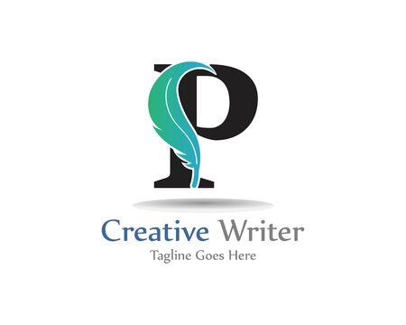 Letter P with feather logo template design, concept design creative symbol Ilustração