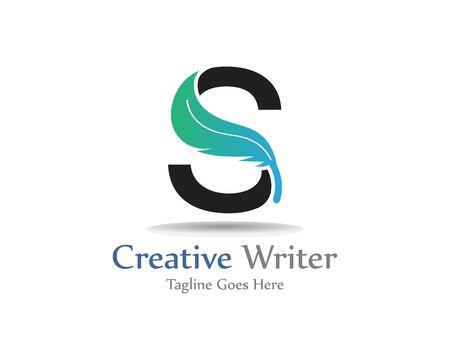 Lettre S avec conception de modèle de logo de plume, symbole créatif de conception de concept