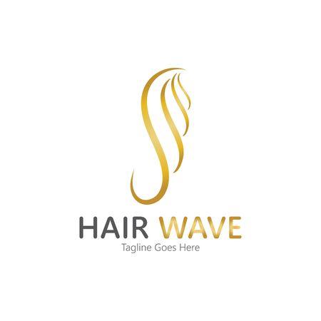 Hair wave  logo vector icon illustration design Standard-Bild - 131908126