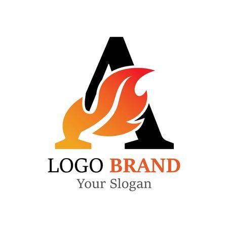 A Letter logo fire creative concept template design