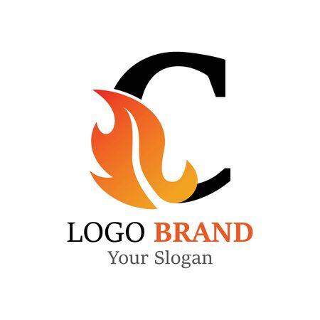 C Letter logo fire creative concept template design