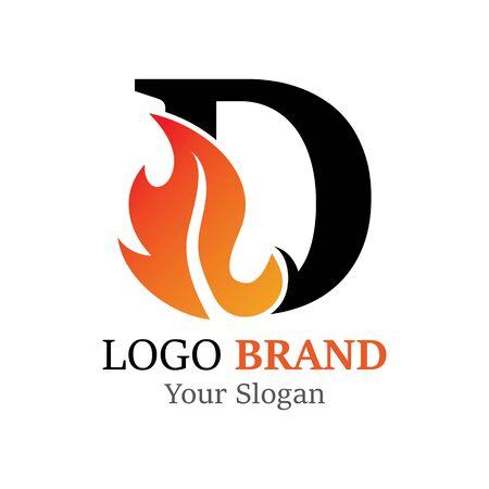 D Letter logo fire creative concept template design Ilustrace