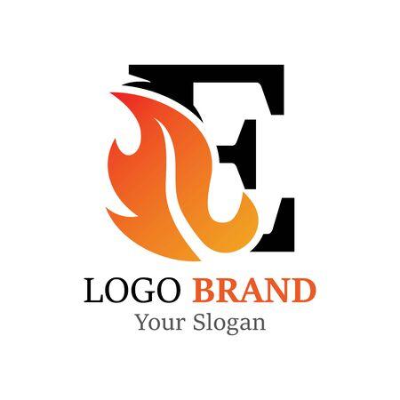E Letter logo fire creative concept template design Ilustrace