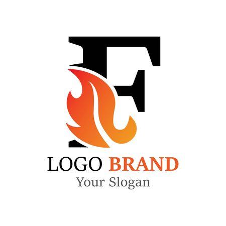 F Letter logo fire creative concept template design