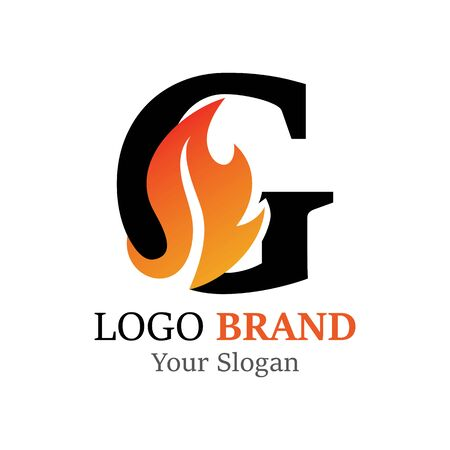G Letter logo fire creative concept template design