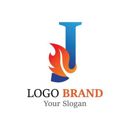 J Letter logo fire creative concept template design Ilustrace