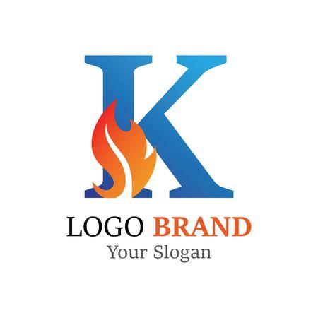 K Letter logo fire creative concept template design