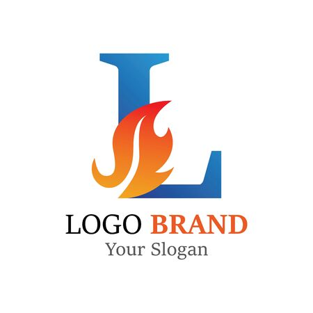 L Letter logo fire creative concept template design Banco de Imagens - 133503980