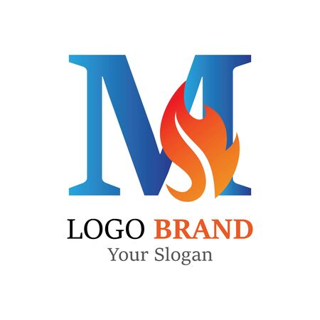 M Letter logo fire creative concept template design