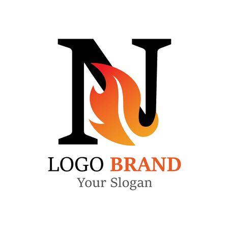 N Letter logo fire creative concept template design Ilustrace