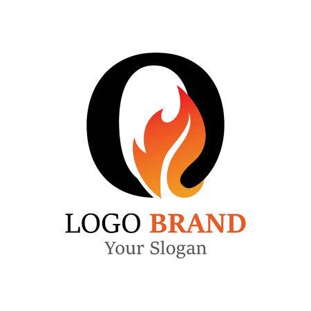 O Letter logo fire creative concept template design Ilustrace