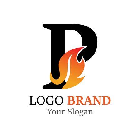 P Letter logo fire creative concept template design