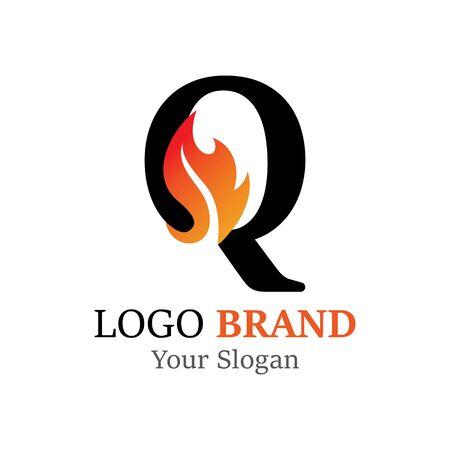 Q Letter logo fire creative concept template design