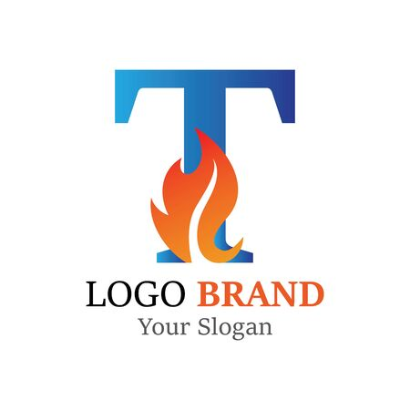 T Letter logo fire creative concept template design