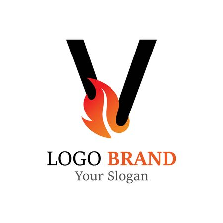 V Letter logo fire creative concept template design