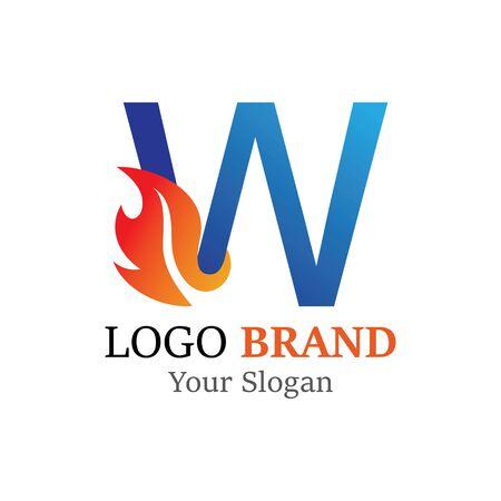 WLetter logo fire creative concept template design Ilustrace