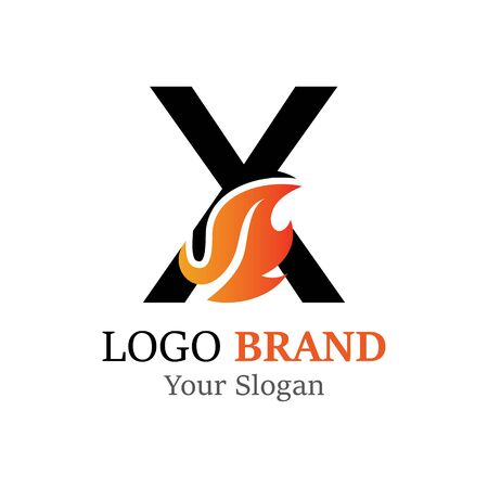 X Letter logo fire creative concept template design