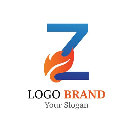 Z Letter logo fire creative concept template design Ilustrace
