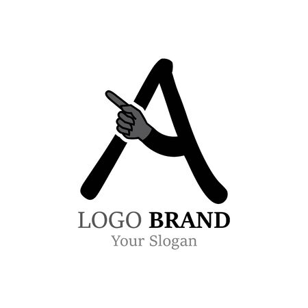 A Letter logo with Hand creative concept template design
