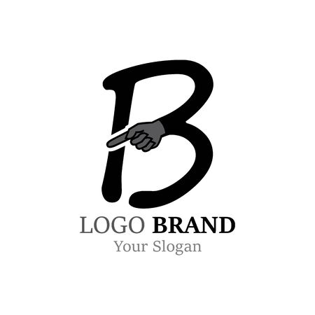 B Letter logo with Hand creative concept template design